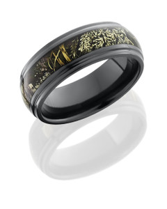 Zirconium 8mm Domed Band with Grooved Edges and 4mm Realtree Max1 Camo inlay