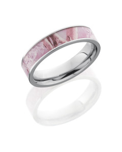 Cobalt Chrome 6mm Flat Band with 4mm King's Pink Camo inlay