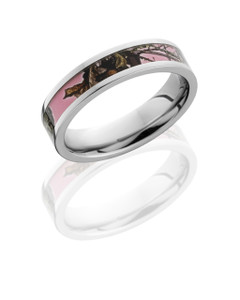 Cobalt Chrome 5mm Flat Band with 3mm Mossy Oak Pink Break Up Camo inlay