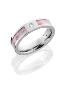 Cobalt Chrome 5mm Flat Band with 3mm King's Pink Camo inlay and .05ct Diamond