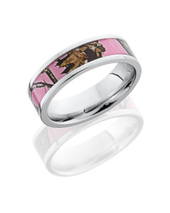 Cobalt Chrome 6mm Flat Band with 4mm Mossy Oak Pink Break-Up Camo inlay