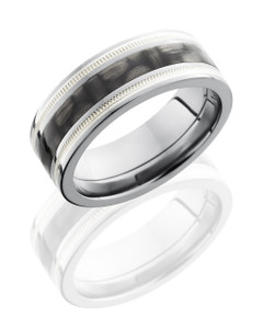 Titanium 8mm Flat Band with 3mm of Carbon Fiber and Milgrained SS Inlay