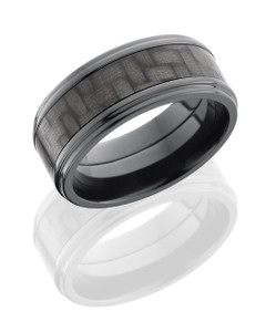 Zirconium 9mm Flat Band with 5mm of Carbon Fiber and Grooved Edges