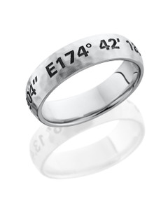 Cobalt Chrome 6mm domed band with customized laser carved coordinates