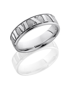 Cobalt Chrome 6mm Domed Band with Customized Laser Carved Roman Numerals