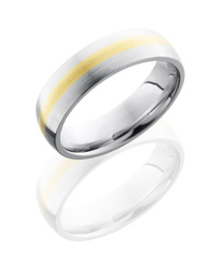 Cobalt Chrome 6mm Domed Band with 2mm 14KY