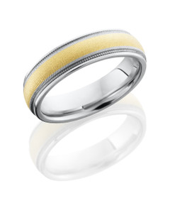 Cobalt Chrome 6mm domed band with grooved edges, milgrain and 3mm of 14KY