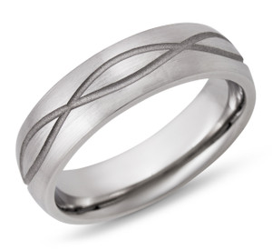 Cobalt Chrome 6mm Domed Band with Infinity pattern