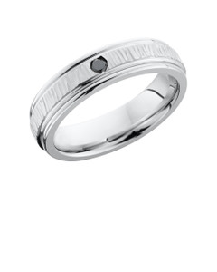 Cobalt Chrome 6mm Flat Band with Rounded Edges and .07ct Black Diamond