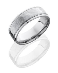 Cobalt Chrome 7.5mm Flat Band with Grooved Edges and Milgrain