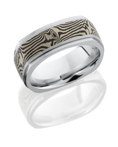Cobalt Chrome 8.5mm Flat EuroSquare Band with Grooved Edges and 5mm 14K White Gold and Shakudo Mokume inlay