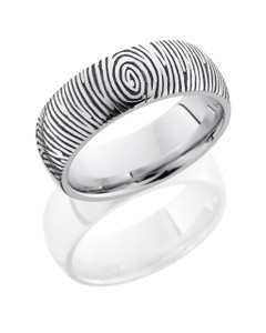 Cobalt Chrome 8mm Domed Band with Customized Laser Carved Fingerprint