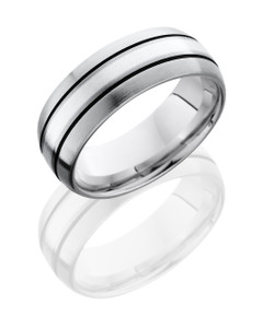 Cobalt Chrome 8mm Domed Band with 2mm SS