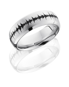 Cobalt Chrome 8mm Domed Band with Beveled Edges and Customized Laser Carved Soundwave
