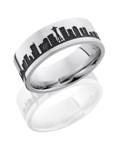 Cobalt Chrome 8mm Flat Band with Laser Carved Skyline