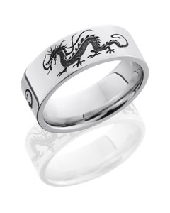 Cobalt Chrome 8mm Flat Band with Customized Laser Carved Dragon Pattern