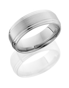 Cobalt Chrome 8mm Flat Band with Double Grooved Edges