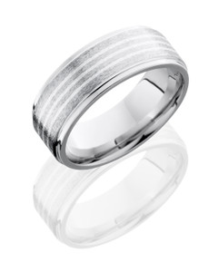 Cobalt Chrome 8mm Flat Band with Grooved Edges and 1.5mm SS