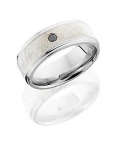 Cobalt Chrome 8mm flat band with grooved edges with 5mm Sterling Silver center and a .03ct Black Diamond
