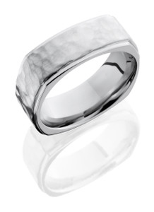 Cobalt Chrome 8mm Flat, Square Band with Grooved Edges