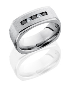 Cobalt Chrome 8mm Flat, Square Band with Channel Set White and Black Diamonds