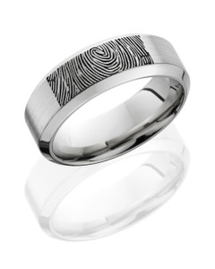 Cobalt Chrome 8mm Flat Band with High Beveled Edges and Customized Laser Carved Fingerprint