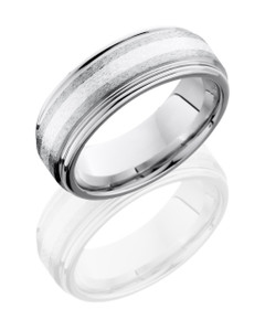 Cobalt Chrome 8mm Flat Band with Rounded Edges and 2mm SS