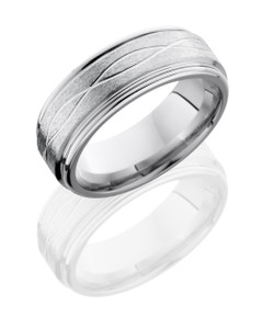 Cobalt Chrome 8mm Flat Band with Rounded Edges and Infinity Pattern