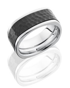 Cobalt Chrome 10mm Flat, Square Band with 6mm Zirconium Inlay