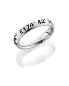 Cobalt Chrome 4mm domed band with customized laser carved coordinants