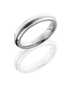 Cobalt Chrome 4mm Domed Band with Grooved Edges
