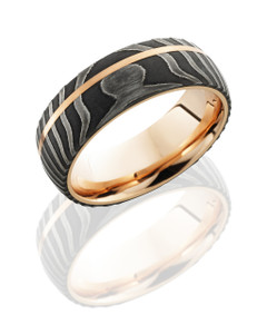 Damascus Steel 8mm Domed Band with 1mm Off-Center 14K Rose Gold inlay with 14K Rose Gold sleeve.