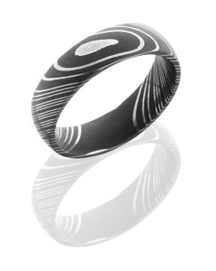 Damascus Steel 6mm Domed Band