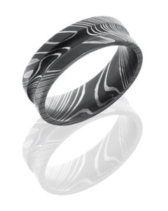 Damascus Steel 7mm Concave Band