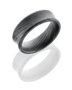 Damascus Steel 7mm Concave Band with Beveled Edges