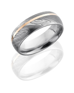 Damascus Steel 7mm Domed Band with 1mm 14KR