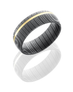 Damascus Steel 7mm Domed Band with 1mm 14KY