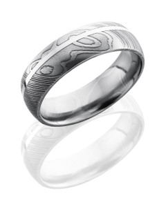 Damascus Steel 7mm Domed Band with 1mm SS