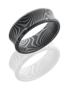 Flattwist Patterned Damascus Steel 8mm Concave Band with Beveled Edges