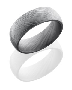Damascus Steel 8mm Domed Band