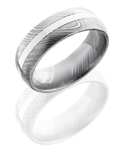 Damascus Steel 8mm Domed Band with 2mm 14KW