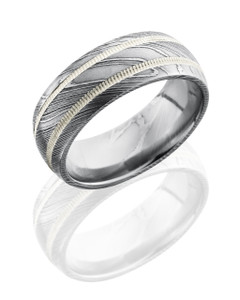 Damascus Steel 8mm Domed Band with 2mm Milgrained SS