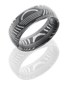 Basket Patterned Damascus Steel 8mm Domed Band