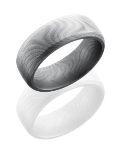 Damascus Steel 8mm Domed Band with Beveled Edges in Flattwist Pattern