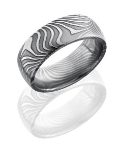 Flat Twist Patterned Damascus Steel 8mm Domed Band