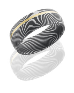 Damascus Steel 8mm Domed Band with 1mm Off-Center 14K Yellow Gold inlay in Flattwist Pattern