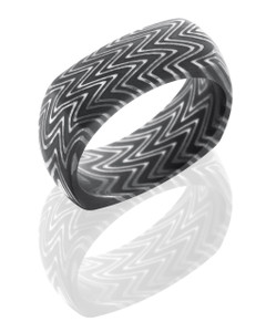 Zebra Patterned Damascus Steel 8mm Domed, Square Band