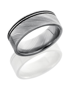 Damascus Steel 8mm Flat Band with Two .5mm Off-Center Grooves
