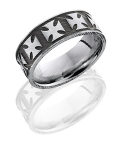 Damascus Steel 8mm Flat Band with Maltese Cross Pattern