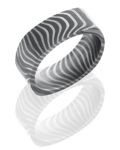 Tiger Patterned Damascus Steel 8mm Flat, Square Band